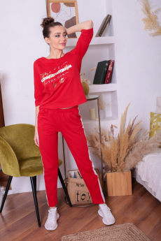 Красный повседневный костюм  ElenaTex